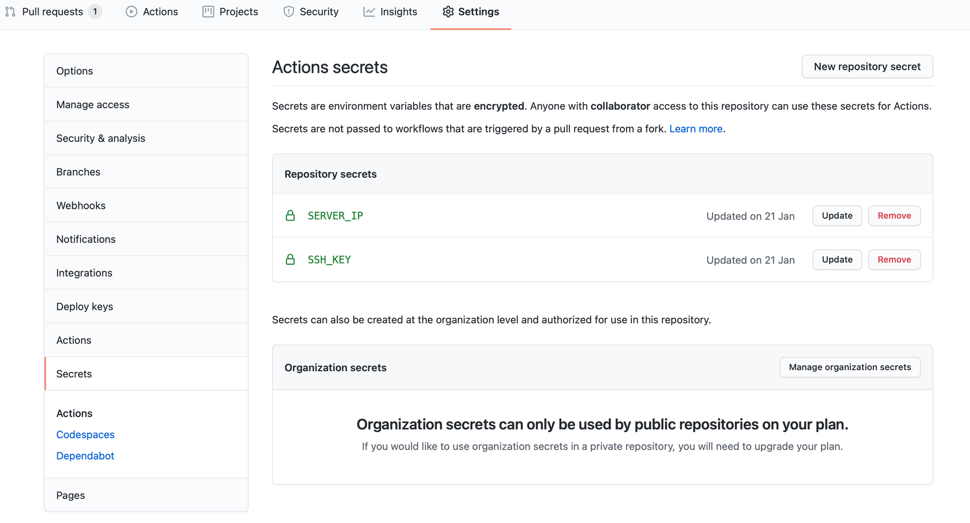 Github Setting for Deployment of GatsbyJS on Digital Ocean